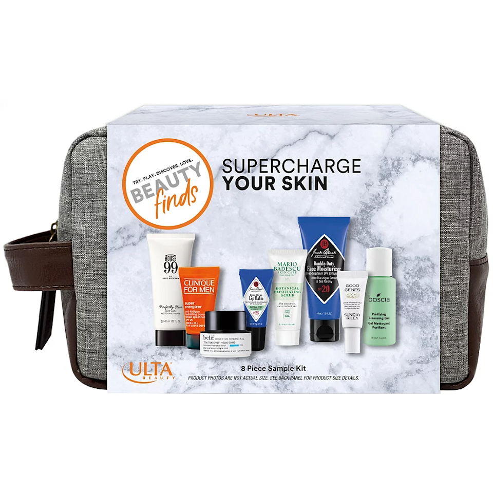 """<h3><a href=""""https://www.ulta.com/supercharge-your-skin-mens-sampler-kit?productId=pimprod2019796"""" rel=""""nofollow noopener"""" target=""""_blank"""" data-ylk=""""slk:ULTA Beauty Supercharge Your Skin Men's Sampler Kit"""" class=""""link rapid-noclick-resp"""">ULTA Beauty Supercharge Your Skin Men's Sampler Kit</a></h3><br>This 7-piece Dopp kit comes stocked with a variety of men's grooming essentials, ranging from Clinique to Jack Black to Sunday Riley. (And did we mention it's on sale for just $15?)<br><br><strong>Beauty Finds by ULTA Beauty</strong> Supercharge Your Skin Men's Sampler Kit, $, available at <a href=""""https://go.skimresources.com/?id=30283X879131&url=https%3A%2F%2Fwww.ulta.com%2Fsupercharge-your-skin-mens-sampler-kit%3FproductId%3Dpimprod2019796"""" rel=""""nofollow noopener"""" target=""""_blank"""" data-ylk=""""slk:Ulta Beauty"""" class=""""link rapid-noclick-resp"""">Ulta Beauty</a>"""
