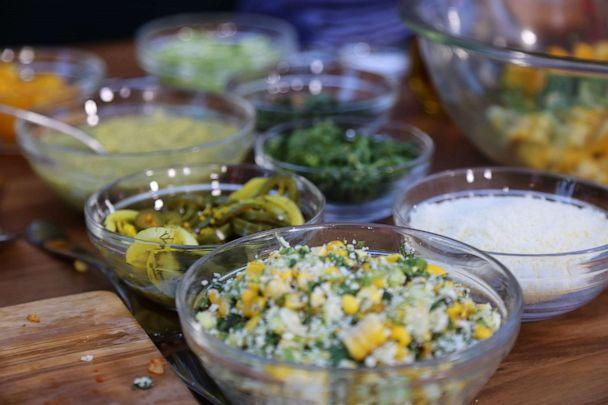 PHOTO: Charred corn, roasted poblano peppers and cotija cheese. (ABC News)