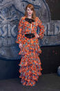 <p>To the premiere for the Jurassic World sequel, Bryce Dallas Howard brought the fun wearing a Johanna Ortiz ruffled, printed gown. The orange, graphic floral print and black bows were a departure from Bryce's usual more simple style – and we're fans. [Photo: Getty] </p>