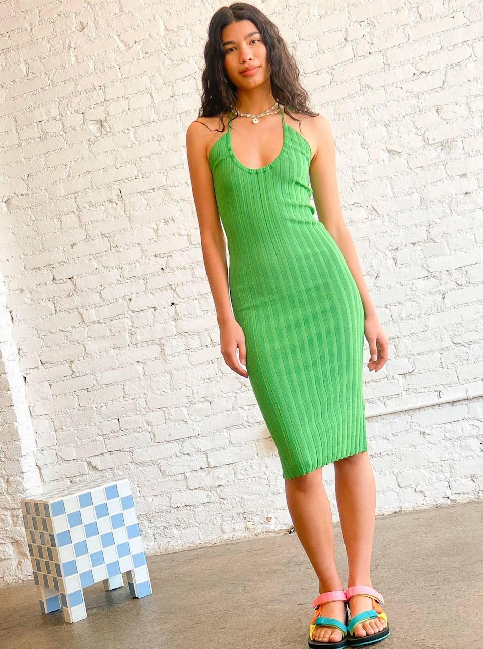 """Paloma Wool is a must for a cool-girl summer, and you'll bring the fun wherever you go with this bright green hue. $173, Lisa Says Gah. <a href=""""https://lisasaysgah.com/collections/dresses/products/jenny-halter-knit-dress"""" rel=""""nofollow noopener"""" target=""""_blank"""" data-ylk=""""slk:Get it now!"""" class=""""link rapid-noclick-resp"""">Get it now!</a>"""