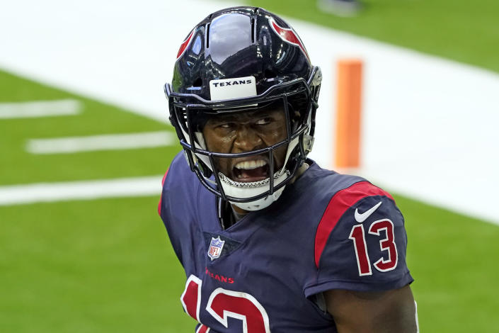 Houston Texans wide receiver Brandin Cooks celebrates after catching a touchdown pass against the Cincinnati Bengals during the first half of an NFL football game Sunday, Dec. 27, 2020, in Houston. (AP Photo/Sam Craft)