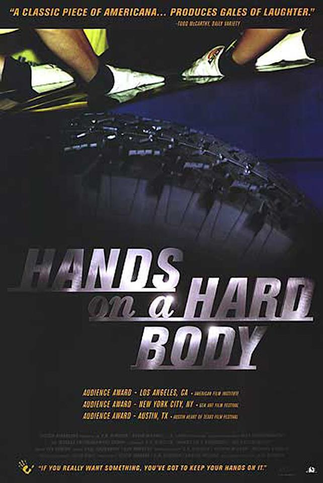 "<a href=""http://movies.yahoo.com/movie/hands-on-a-hard-body/"">HANDS ON A HARD BODY</a> (1999) <br>Directed by: S.R. Bindler<br><br>A look at an unusual endurance competition in Longview, Texas, where contestants simply stand while placing a hand on a hard body truck. The last person standing wins the truck. It sounds easy but, as this movie proves, it's not."