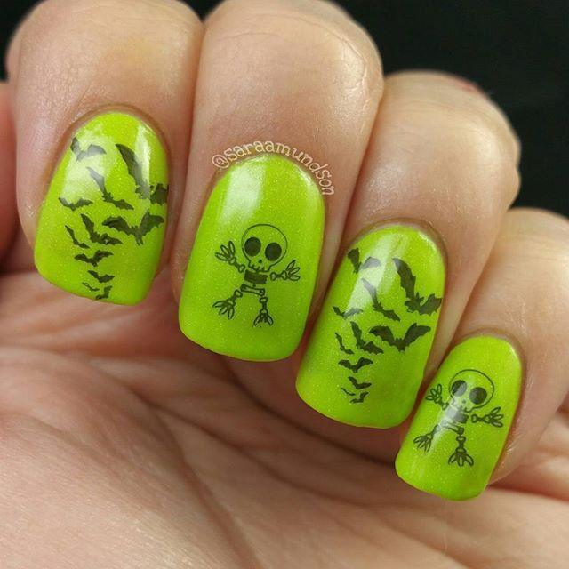 """<p>Two of the most iconic Halloween images in one funky green manicure — perfect for parties or for adding to a creepy costume. </p><p><a href=""""https://www.instagram.com/p/BEjnWRaRV6_/&hidecaption=true"""" rel=""""nofollow noopener"""" target=""""_blank"""" data-ylk=""""slk:See the original post on Instagram"""" class=""""link rapid-noclick-resp"""">See the original post on Instagram</a></p>"""