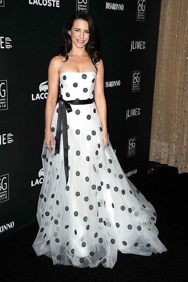 """""""I love costume designers!"""" said Kristin Davis, who hosted the star-studded soiree Tuesday night. The """"Sex and the City"""" star shone in a black-and-white polka dot frock from Oscar de la Renta's Spring 2011 collection. Steve Granitz/<a href=""""http://www.wireimage.com"""" target=""""new"""">WireImage.com</a> - February 22, 2011"""