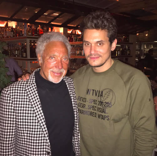 "<p>The ladies man was honored to meet the <em>ultimate</em> ladies man, singer Tom Jones. ""It's a picture of me and Tom Jones,"" Mayer wrote along with a prayer hands emoji. (Photo: <a rel=""nofollow"" href=""https://www.instagram.com/p/BU1O3aQlbC4/"">John Mayer via Instagram</a>) </p>"
