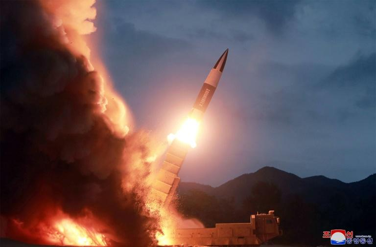 This picture released from KCNA shows the test of the weapon at an undisclosed location in North Korea