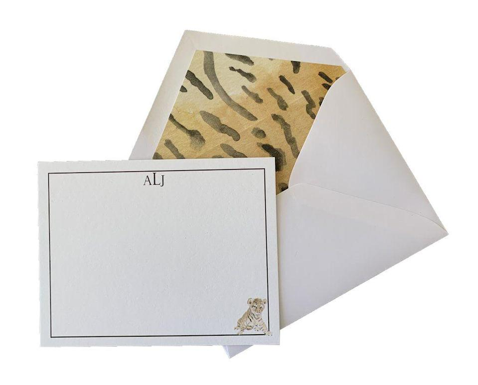 """<p><strong>Loulou Baker</strong></p><p>louloubaker.com</p><p><a href=""""https://louloubaker.com/collections/stationary/products/baby-animal-custom-stationery-set-of-25"""" rel=""""nofollow noopener"""" target=""""_blank"""" data-ylk=""""slk:Discover"""" class=""""link rapid-noclick-resp"""">Discover</a></p><p>Talk about a card with personality! This chic animal-inspired design takes this note card set to the top of our list. </p>"""