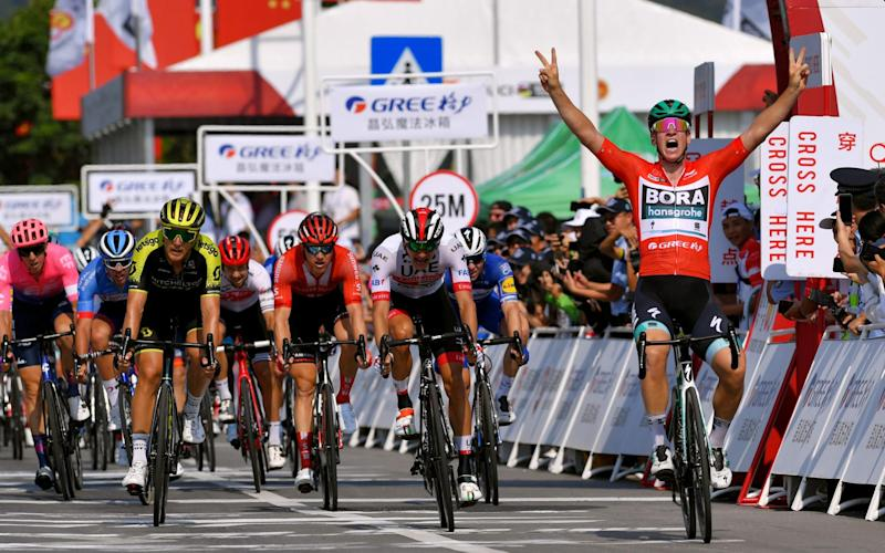Pascal Ackermann celebrates victory on stage three - Velo