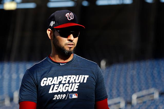 Washington Nationals pitcher Anibal Sanchez walks on the field during a baseball workout, Friday, Oct. 18, 2019, in Washington, in advance of the team's appearance in the World Series. (AP Photo/Patrick Semansky)