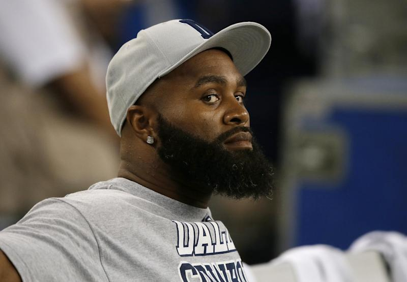 FILE - In this Sept. 8, 2013, file photo, Dallas Cowboys' Anthony Spencer sits on the bench during an NFL football game against the New York Giants in Arlington, Texas. Spencer might need microfracture surgery on his left knee and could miss the rest of the season. (AP Photo/Tony Gutierrez, File)