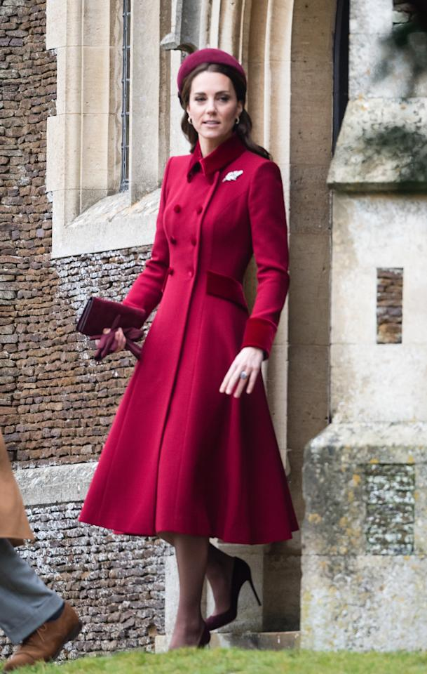WHO: Catherine, Duchess of Cambridge<br> WHAT: Catherine Walker<br> WHERE: At Christmas Day morning church service at St. Mary Magdalene Church in Sandringham, Norfolk, England<br> WHEN: December 25, 2018
