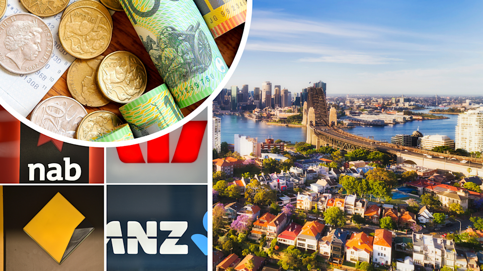Pictured: Images suggesting RBA interest rate decision, major banks, property and money. Images: Getty