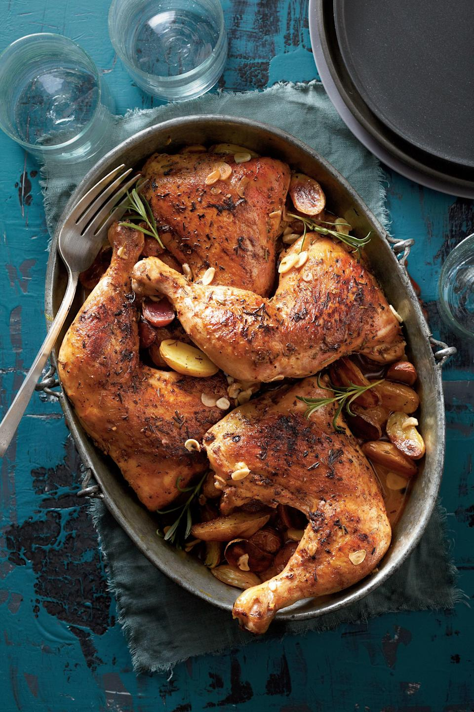 """<p><strong>Recipe:</strong> <strong><a href=""""http://www.myrecipes.com/recipe/rosemary-garlic-chicken-quarters-50400000126154/"""" rel=""""nofollow noopener"""" target=""""_blank"""" data-ylk=""""slk:Rosemary-Garlic Chicken Quarters"""" class=""""link rapid-noclick-resp"""">Rosemary-Garlic Chicken Quarters</a></strong></p> <p>The key to this dinner-party-worthy dish is to brown the chicken before it goes into the slow cooker.</p> <p><strong>Cooking Video:</strong> <a href=""""http://www.southernliving.com/food/how-to/test-kitchen-cooking-demo-00417000081023/"""" rel=""""nofollow noopener"""" target=""""_blank"""" data-ylk=""""slk:How To Make Rosemary-Garlic Chicken Quarters"""" class=""""link rapid-noclick-resp""""><strong>How To Make Rosemary-Garlic Chicken Quarters</strong></a></p>"""