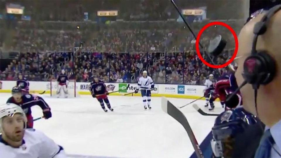 McGuire was so close to suffering a sickening injury. Pic: NBC Sports