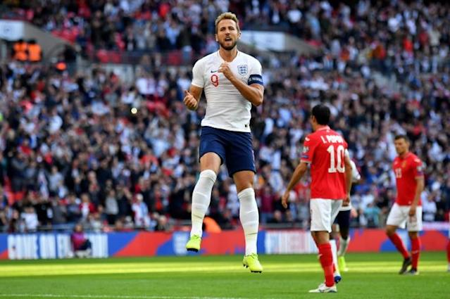 Harry Kane celebrates scoring England's second goal against Bulgaria (AFP Photo/Ben STANSALL)