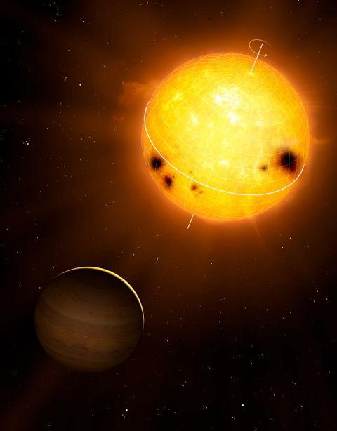Wobbly, Sunlike Star Being Pulled by Giant Alien Planet
