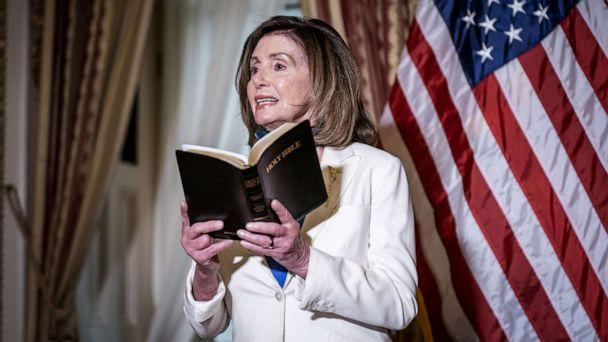PHOTO: House Speaker Nancy Pelosi speaks while holding a bible during an event at the U.S. Capitol in Washington, June 2, 2020. (Sarah Silbiger/Bloomberg via Getty Images)