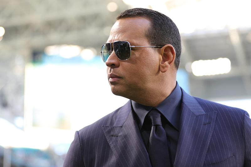 MIAMI, FLORIDA - FEBRUARY 02: Former baseball player Alex Rodriguez looks on before Super Bowl LIV at Hard Rock Stadium on February 02, 2020 in Miami, Florida. (Photo by Maddie Meyer/Getty Images)