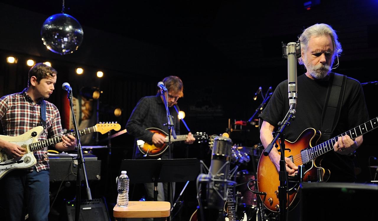 "Sam Cohen, Aaron Dessner and Bob Weir perform during the Yahoo! Music Presents ""The Bridge Session"" sponsored by Headcount at TRI Studios on March 24, 2012 in San Rafael, California."