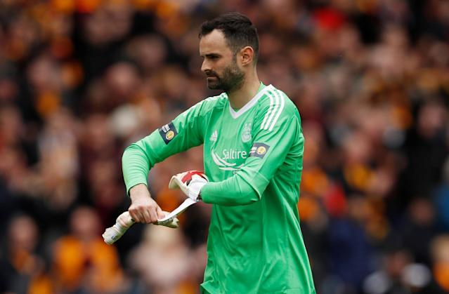 Soccer Football - Scottish Cup Semi-Final - Motherwell vs Aberdeen - Hampden Park, Glasgow, Britain - April 14, 2018 Aberdeen's Joe Lewis looks dejected after the match Action Images via Reuters/Lee Smith