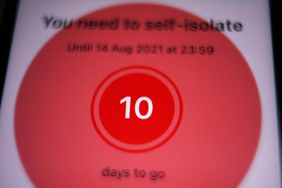 A message to self-isolate, with ten days of required self-isolation remaining (PA) (PA Wire)