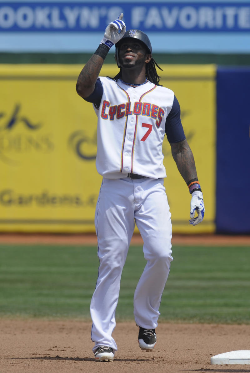 New York Mets' Jose Reyes reacts after hitting a double in the sixth inning of the Brooklyn Cyclones baseball game against the Lowell Spinners in the New York City borough of Brooklyn, Monday, July 18, 2011. Reyes made a rehabilitation start for Class-A Brooklyn.  (AP Photo/Henny Ray Abrams)