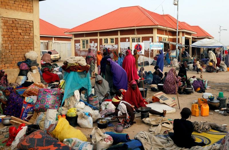 FILE PHOTO: Internally displaced people are seen at the Teachers village camp in Maiduguri