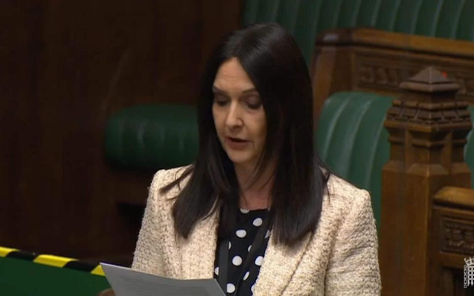 Screen grab from Parliament TV of SNP MP Margaret Ferrier in the House of Commons on Monday during a debate on the coronavirus response - Parliament TV/PA Wire