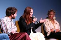 <p>Ben Platt, Julianne Moore and Amandla Stenberg take the stage during a special screening of <i>Dear Evan Hansen </i>on Sept. 14 in N.Y.C. </p>