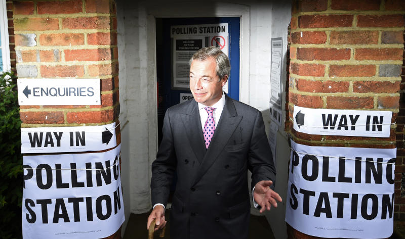 Nigel Farage, the leader of the United Kingdom Independence Party (UKIP), votes in the EU referendum, at a polling station in Biggin Hill, Britain June 23, 2016. REUTERS/Dylan Martinez TPX IMAGES OF THE DAY