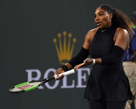 Mar 12, 2018; Indian Wells, CA, USA; Serena Williams (USA) during her third round match against Venus Williams (not pictured) in the BNP Paribas Open at the Indian Wells Tennis Garden. Venus Williams won the match. Mandatory Credit: Jayne Kamin-Oncea-USA TODAY Sports