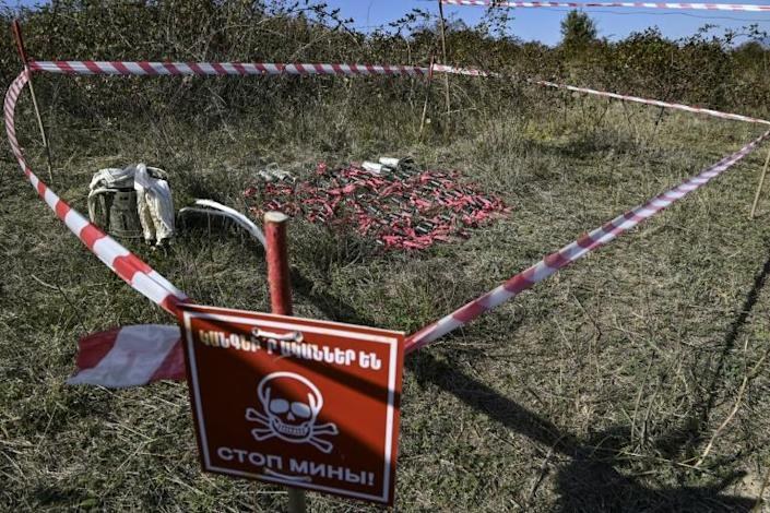 Unexploded cluster bombs collected by members of a Karabakh sapper group on the outskirts of Stepanakert