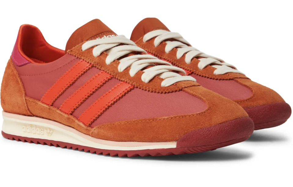 """<p><strong>adidas Consortium</strong></p><p>mrporter.com</p><p><strong>$105.00</strong></p><p><a href=""""https://go.redirectingat.com?id=74968X1596630&url=https%3A%2F%2Fwww.mrporter.com%2Fen-us%2Fmens%2Fproduct%2Fadidas-consortium%2Fshoes%2Flow-top-sneakers%2Fplus-wales-bonner-sl72-shell-leather-and-suede-sneakers%2F10516758727669000&sref=https%3A%2F%2Fwww.esquire.com%2Fstyle%2Fmens-fashion%2Fg35083025%2Fmr-porter-end-of-season-sale-2020%2F"""" rel=""""nofollow noopener"""" target=""""_blank"""" data-ylk=""""slk:Buy"""" class=""""link rapid-noclick-resp"""">Buy</a></p>"""
