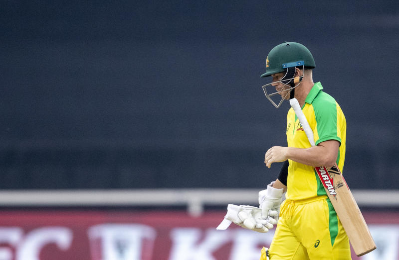Australia's batsman David Warner leaves the field after being dismissed by South Africa's bowler Dale Steyn for 4 runs during the 1st T20 cricket match between South Africa and the Australia at Wanderers stadium in Johannesburg, South Africa, Friday, Feb. 21, 2020. (AP Photo/Themba Hadebe)