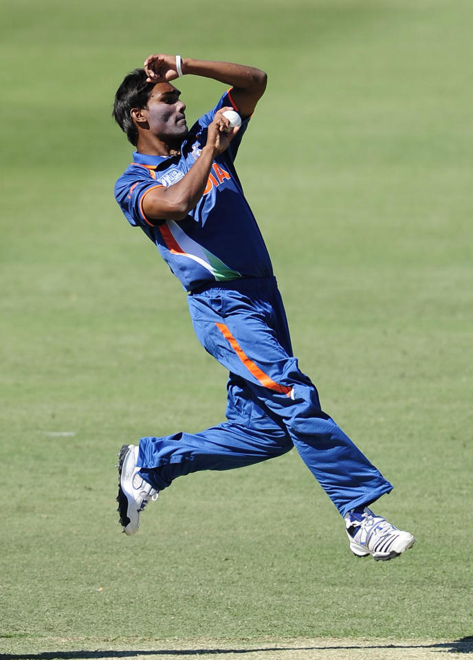 TOWNSVILLE, AUSTRALIA - AUGUST 12:  Sandeep Sharma of India bowls during the ICC U19 Cricket World Cup 2012 match between the West Indies and India at Tony Ireland Stadium on August 12, 2012 in Townsville, Australia.  (Photo by Ian Hitchcock-ICC/Getty Images)