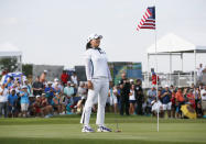Jin Young Ko, of South Korea, reacts on the 18th green after winning the LPGA Volunteers of America Classic golf tournament in The Colony, Texas, Sunday, July 4, 2021. (AP Photo/Ray Carlin)