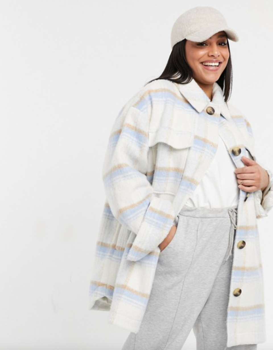 ASOS DESIGN Curve Brushed Plaid Jacket in Baby Blue (Photo via ASOS)