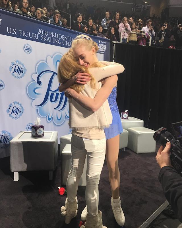 <p>Figure skater Bradie Tennell celebrates with her mother after making the US Olympic Team. Tennell has already won a bronze medal in the team competition. (Instagram | @bradietennell ) </p>