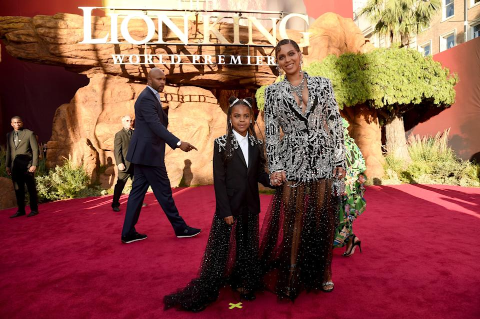 "Beyonce, right, and daughter Blue Ivy Carter arrive at the world premiere of ""The Lion King"" on July 9, 2019, in Los Angeles."
