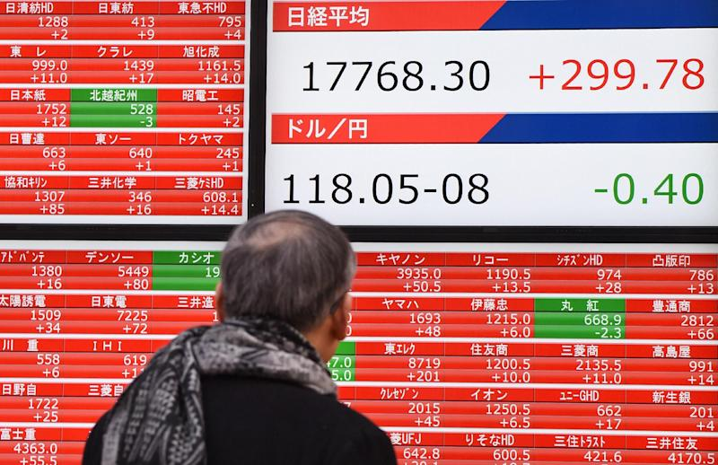 Asian markets have been buoyed by rhetoric coming out of Athens and its creditors that raises hopes the two sides can reach an agreement over Greece's repayment of its 240-billion-euro bailout (AFP Photo/Toru Yamanaka)