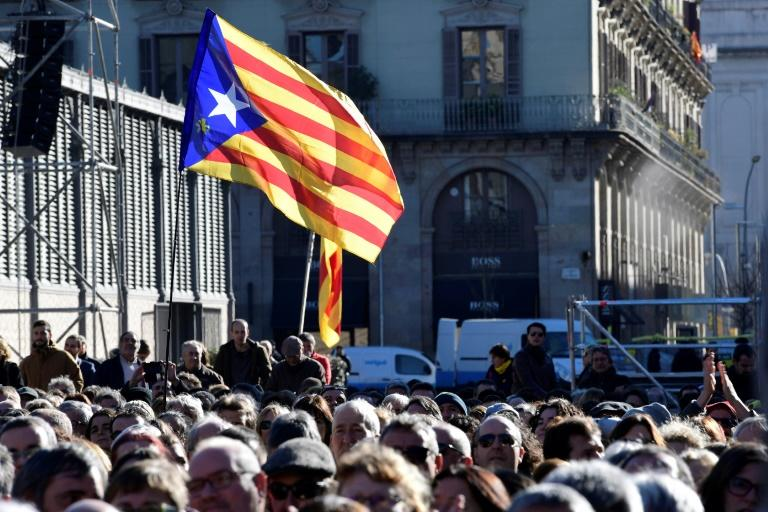 The EU has sided with the Spanish government against an separatist drive in Catalonia, where independence flags fly