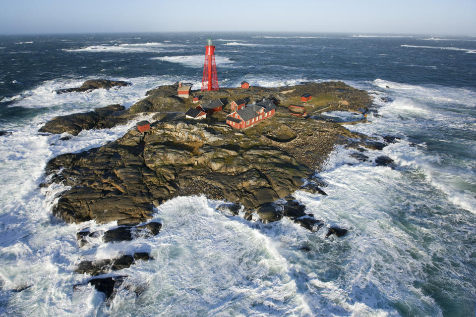 Pater Noster lighthouse on the west coast of Sweden in a full winter storm (50knots wind)