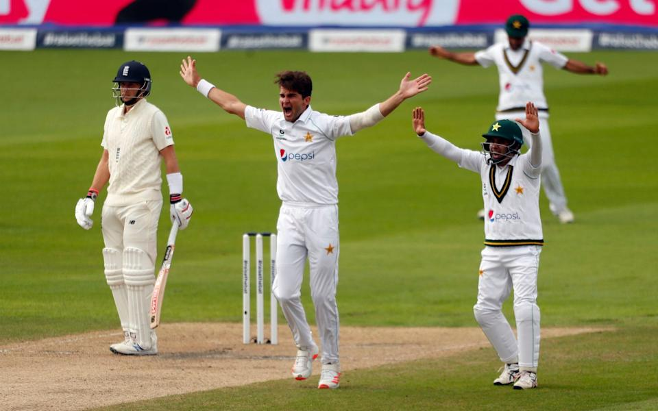 Pakistan's pace attack, featuring Shaheen Afridi (pictured) prominently, ripped through England's top order - PA