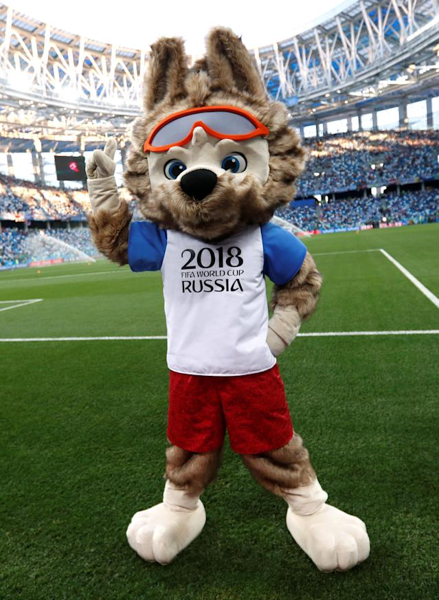Soccer Football - World Cup - Group D - Argentina vs Croatia - Nizhny Novgorod Stadium, Nizhny Novgorod, Russia - June 21, 2018 World Cup mascot Zabivaka inside the stadium before the match REUTERS/Murad Sezer
