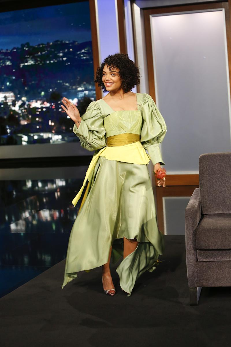 Tessa Thompson wearing a look from Christopher John Rogers's third collection on Jimmy Kimmel Live, November 2018.