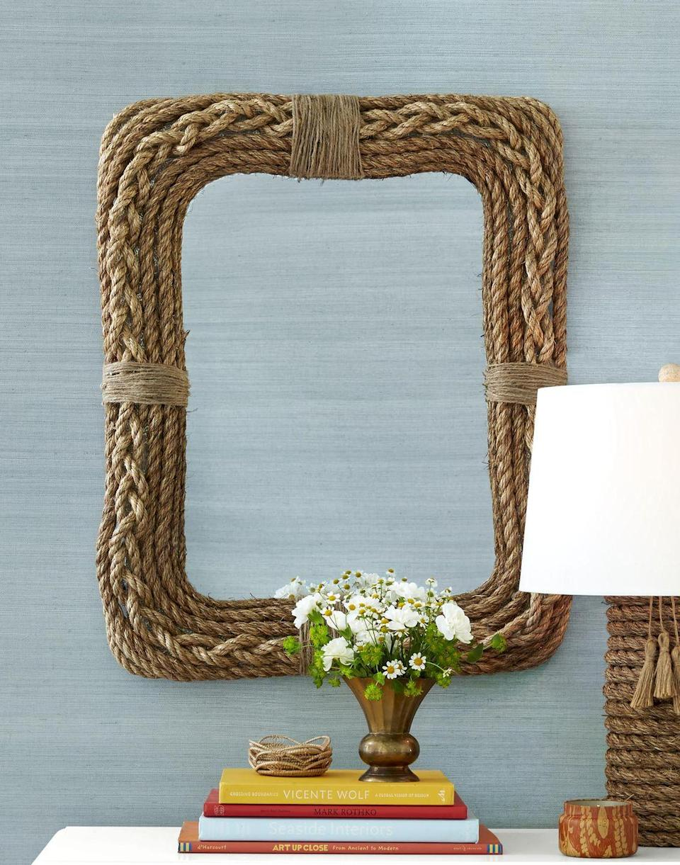 """<p>We love the way mom looks and she will too when she catches a glance of herself in this stylish rope mirror.</p><p>To make: Cover frame of a mirror with 1/2- to 3/4-inch manila rope,<br>braiding one section for a decorative effect and adhering rope with hot-glue. Add a decorative band to center of top and sides with thin sisal rope.<br><br><a class=""""link rapid-noclick-resp"""" href=""""https://www.amazon.com/GWP-Tensile-Strength-Various-Listing/dp/B08H5XDCQ7/ref=sr_1_3_sspa?tag=syn-yahoo-20&ascsubtag=%5Bartid%7C10050.g.2357%5Bsrc%7Cyahoo-us"""" rel=""""nofollow noopener"""" target=""""_blank"""" data-ylk=""""slk:SHOP ROPE"""">SHOP ROPE</a></p>"""