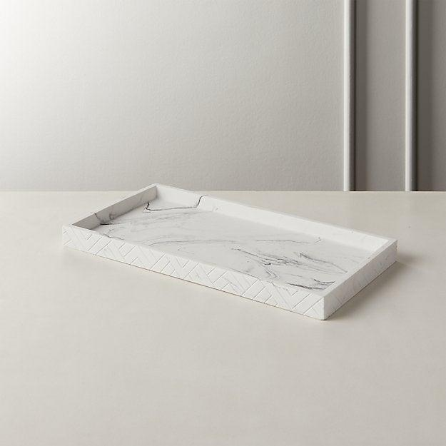 """<br><br><strong>CB2</strong> Santi White Marbleized Tray, $, available at <a href=""""https://go.skimresources.com/?id=30283X879131&url=https%3A%2F%2Fwww.cb2.com%2Fsanti-white-marbleized-tray%2Fs468945"""" rel=""""nofollow noopener"""" target=""""_blank"""" data-ylk=""""slk:CB2"""" class=""""link rapid-noclick-resp"""">CB2</a>"""