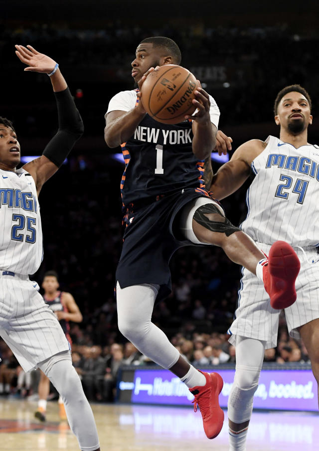 NEW YORK, NEW YORK - FEBRUARY 26: Emmanuel Mudiay #1 of the New York Knicks passes the ball during the second half of the game against the Orlando Magic at Madison Square Garden on February 26, 2019 in New York City. (Photo by Sarah Stier/Getty Images)