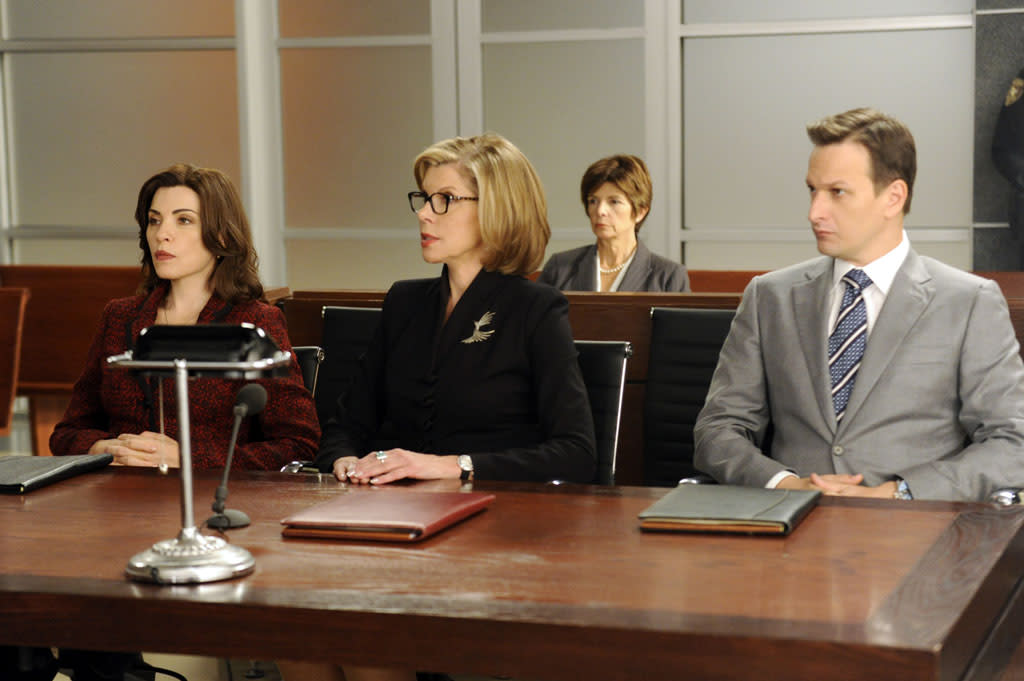 "Alicia (Julianna Margulies) and Diane (Christine Baranski) help during a hearing to determine if the judge on Will's (Josh Charles) latest case should be removed for bias in ""Here Comes the Judge,"" the eighth episode of ""The Good Wife"" Season 4."
