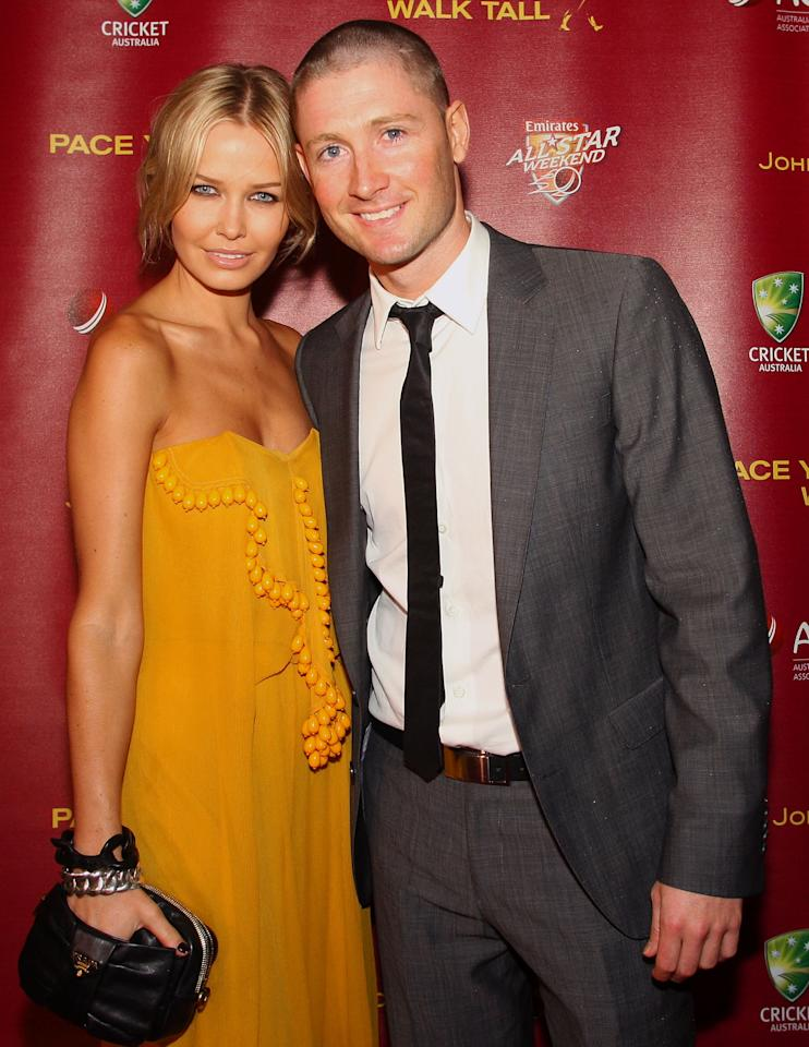 BRISBANE, AUSTRALIA - NOVEMBER 17: Michael Clarke and partner Lara Bingle attend the Johnnie Walker All Star Party at the Gallery of Modern Art, on November 17, 2008 in Brisbane, Australia.  (Photo by Bradley Kanaris/Getty Images)